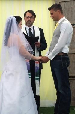 Humanist Celebrant Joel Gardner officiants a wedding in Pocatello